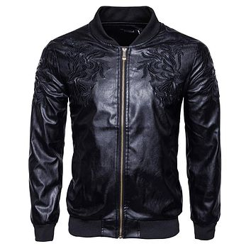Men Embroidery Leather Jacket and Coats Men Motorcycle Leather Jackets Male Biker Leather Clothing