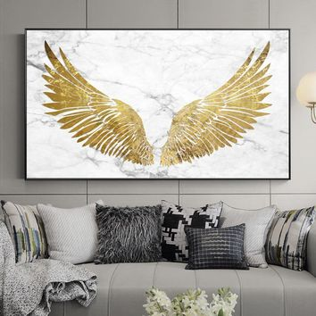 Nordic Style Holy Golden Wings Canvas Painting Posters And Print Unique Decor Wall Art Pictures For Living Room Bedroom Studio