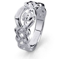 Ladies Sterling Silver Claddagh Ring LS-RS900B. Made in Ireland.