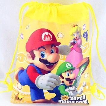 New Super Mario The First Cartoon Kids Drawstring Printed Backpack Beach Shopping School Traveling Bags 34*27CM