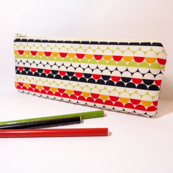 Pencil Case Zipper Pouch Cotton Pouch Circles in Red, Lime and Gold