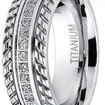 CERTIFIED 8mm Titanium Wedding Band, Engagement Eternity ring, Chevron design, Cubic Zirconia CZ Ring