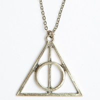 BRONZE TRIANGLE NECKLACE WITH CIRCLE