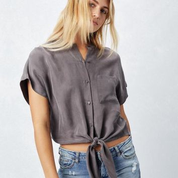 Mandy Olive Button-down Tie Top