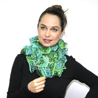 Summer Scarf/ The Frou-Frou Lace Scarf/ Hand Knit Ruffled Shawl, teal, green, CARIBBEAN BAY by Solandia
