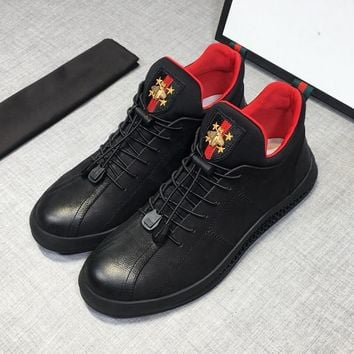 Gucci Black Leather Sneakers - Best Deal Online