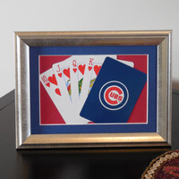 Chicago Cubs 5x7 Flush? Hearts Authentic Playing Card Display Matted FRAMED NF2225