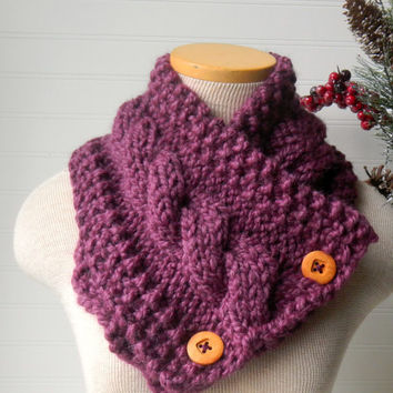 Knit Scarf Cable Cowl Fig or Your Custom Color by WindyCityKnits