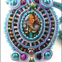 Purple Teal Honey Blue Iris Lampwork Soutache Hand Beaded Necklace