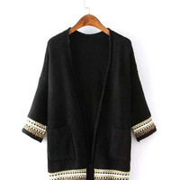Color Block Long Sleeve Cardigan with Pockets