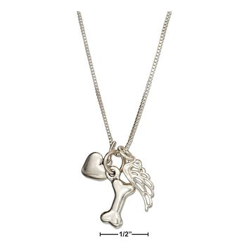 "Sterling Silver Necklace:  18"" Dog Bone Necklace With Heart With Angel Wing Charms"