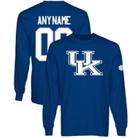 Kentucky Wildcats Personalized Basketball Name & Number Long Sleeve T-Shirt - Royal Blue -