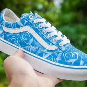 DCCKBWS Limited Edition Of Vans Blue Rose Print Women Sneaker Casual Shoes