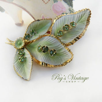 Vintage/Antique Green Enamel Leaf Brooch/Peridot Green Rhinestone Leaf Brooch