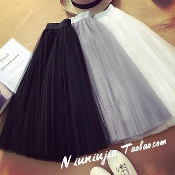 Tulle Skirts Womens 2017 Summer Fashion High Waist Lace Mesh Pleated Long Skirt Elastic Sun Fluffy Tutu Skirt Jupe Longue Femme