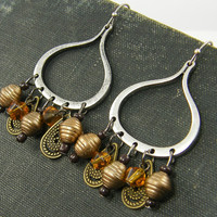 Boho Gypsy Earrings Mixed Metal Silver Hoop Bronze Pearl Amber Bead Dangle Statement Earrings