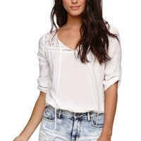 LA Hearts Bubble Hem Lace Peasant Top - Womens Shirts -