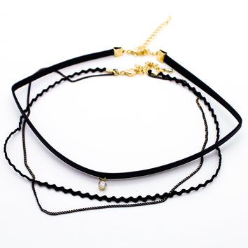 Charm layer choker necklace set