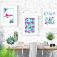 Printable Motivational Artwork, Tropical vibrant theme perfect for your home office, business, dreamer INSTANT DOWNLOAD