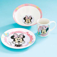3-Pc. Minnie Mouse Bowtique Disney Meal Set.  Plate, Bowl and Cup.  Holiday Gift!