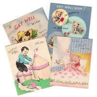 Vintage Get Well Cards, Kids Get Well, 1950s Greeting Cards, Juvenile Cards, Lot of 4, Bears, Circus Tents, Anthropomorphic Vegetables