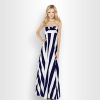 MapleClan Navy & White Stripe Multi-Way Holiday Party Maxi Dress