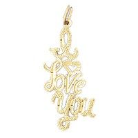 Gold charms- 14K GOLD SAYING CHARM - I LOVE YOU #10186