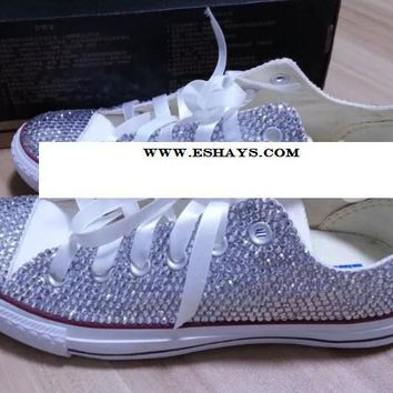 Clear Crystal Low Top Converse with Ribbon Laces