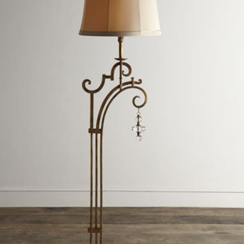 John-Richard Collection Golden Glass-Drop Floor Lamp - Horchow