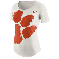 Women's Nike Cream Clemson Tigers Nameplate Boyfriend Tri-Blend T-Shirt