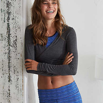 Aerie Wrap Tie Top , Charcoal Heather