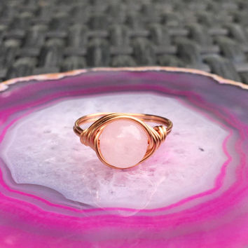 Ring, wire ring, Rose quartz ring, stone ring, wire wrapped ring, custom ring, healing stones and crystals, pink stone ring, copper ring