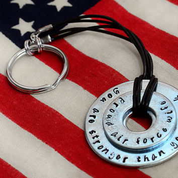 You Are Stronger Than You Think Custom Metal Stamped Keychain - Military / Deployment / Air Force / Navy / Army / Marines
