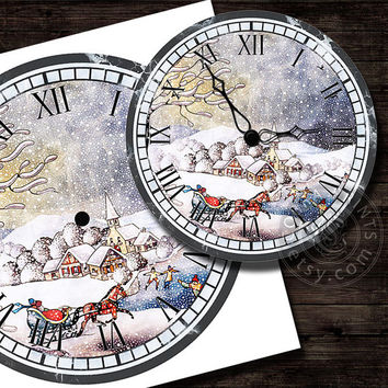 "Christmas DIY Clock Face - 12"" Digital Sheets CP-289 - Printable Image - Iron On Transfer - Wall Decor - Crafts - Instant Donwload"