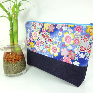 Large Cosmetic Pouch, Handmade Travel Pouch,Unique Gift Ideas,Padded Cosmetic Bags Japanese Kimono Cotton Fabric Cherry Blossoms Blue