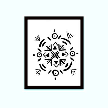 tribal mandala flower, black white, southwestern boho, printable wall art, native american, YOGA ROOM DECOR, geometry, distressed bohemian