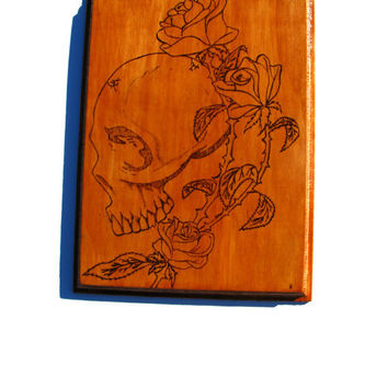 Skull and Roses Classy Oak Stained Woodworking Wall Art