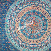 Blue Mandala Tapestries, Queen Ethnic Wall Tapestries, Indian Bohemian Mandala Tapestry Throw Bedcover Sheet, Hippie Wall Decor Throw