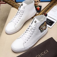 Gucci Fashion Tiger head Embroidery Leather High top Sneaker