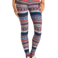 Cotton Tribal Printed Leggings by Charlotte Russe - Multi