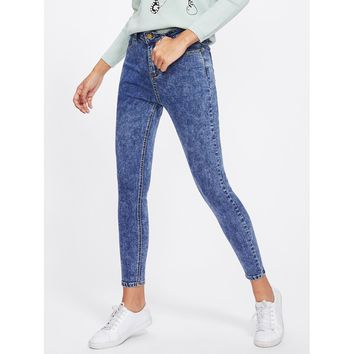 Bleach Wash Skinny Crop Jeans