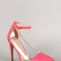 Liliana Leatherette Lucite Ankle Strap Pointy Toe Pump