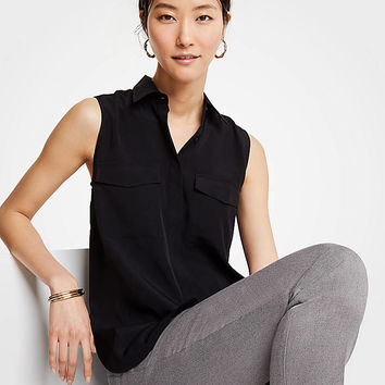 Sleeveless Camp Shirt | Ann Taylor