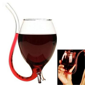 Hot 300ML Beer Bar Supplies Beer Glass Red Wine Glass W/ Drinking Tube Straw Novelty Fashion ZX042