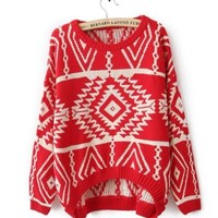 VINTAGE GEOMETRIC PATTERN KNITTED SWEATER red