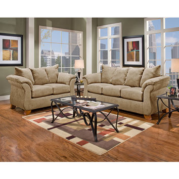 Exceptional Designs Living Room Set in Sensations Camel Microfiber