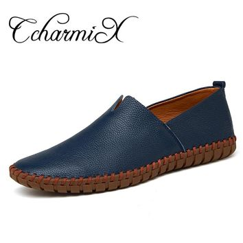 Genuine Cow leather Mens Loafers 2017 Fashion Handmade Moccasins Leather Men Flats Blue Slip On Men's Boat Shoe PLUS SIZE 38~47