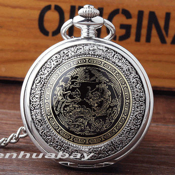Silver Pocket Watch Classic Style Men Watches Chinese Dragon Quartz Pocket Watch With Fob Chain Necklace Vintage Gifts Men Women