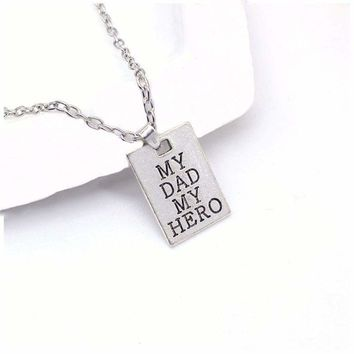 1Pcs My Dad My Hero Letter Pendant Chain Plate Silver Choker Family Necklace