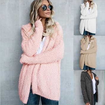 Harmony Cozy Cardigan - Women Long Sleeve Fur Cardigan Loose Sweater Outwear Jacket Coat Sweater Top